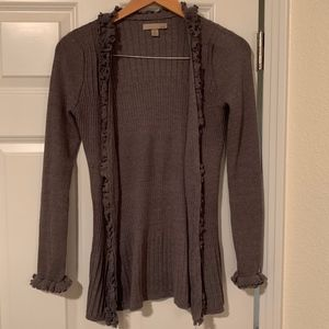 oneA Ruffled Grey Button-Up Cardigan size Medium